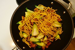 Mandarin Noodles, Baby Bok Choy, and Seitan Stir-Fry (Vegan Butterfly) Tags: food baby cooking vegetables dinner vegan yummy beef wheat cook tasty meat delicious meal greens vegetarian bok choy noodles mandarin supper veggies seitan fried stirfry wok meatless