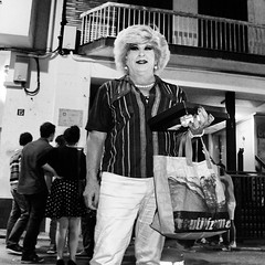 Transvestite in Sitges (romnrolla) Tags: blackandwhite spain lgbt transvestite queer sitges facesaround