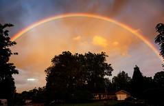 Full rainbow over the house 4/29 (DRUMatthias) Tags: sunset colors sunshine rain clouds oregon spring rainbow scenery spectrum dusk sony scenic pinkfloyd full end springtime photomatix sunrain sunandrain fullrainbow nex5t endtoendrainbow