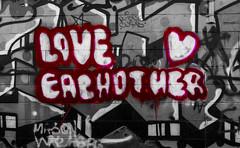 LOVE EACH OTHER (Tyler Merbler) Tags: red white inspiration streetart black love graffiti mural purple friendship heart beatles brotherhood sisterhood magicalmysterytour sgtpepper youngbloods allyouneedislove