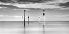 Markers (petefoto) Tags: sea cloud posts filters markers minimalist shoreham leefilters bwfilters nikond810 bestcapturesaoi elitegalleryaoi