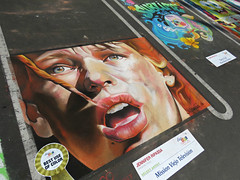 """Magic with chalk and parking lot paintings...."" (Bennilover) Tags: festival painting movie fun chalk community magic bruce contest event artists theme leeloo willis myfavoritethings artsalive thefifthelement chalkpainting the90s"