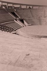 (orwa_farran) Tags: city nyc blue shadow sky blackandwhite white art colors monochrome field lines architecture stairs studio landscape la artist outdoor geometry stadium horizon line depth doha qatar katara