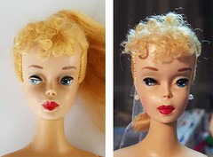 #3 vintage ponytail Barbie (Pania Cope) Tags: color girl vintage casey mod magic barbie skipper before american restore restoration after swirl ponytail tnt midge tlc sidepart bubblecut