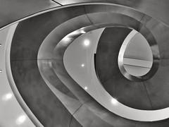 Turning Into Myself (Douguerreotype) Tags: city uk england urban blackandwhite bw abstract london geometric monochrome architecture stairs spiral mono britain geometry steps gb british helix urbex