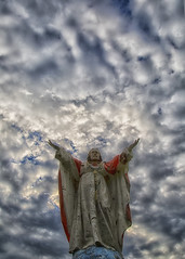 Almighty (richpoj50) Tags: sky cloud storm grave statue religious christ processed cloudporn hss cemetrey thechrist colorefex slidersunday
