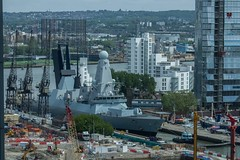 A tight squeeze for HMS Duncan (johnruscombe1965) Tags: london river military navy destroyer docklands naval canarywharf royalnavy unitedkindom type45destroyer thanes defenceoftherealm riverthanes hmsduncan