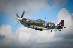 Wing to Wing (Richard Paterson) Tags: world two sky history de flying war fighter britain battle airline duxford spitfire rapide haviiland