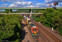"Westbound Transfer in Kansas City, MO (""Righteous"" Grant G.) Tags: city railroad train power railway trains missouri kansas locomotive transfer ge wes bnsf westbound atsf"