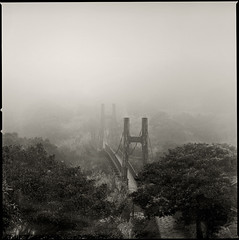 suspension bridge in fog ('eliat) Tags: sunset mountain fog mediumformat fuji hasselblad suspensionbridge largeformat yangmingmountain acros rodenstock 150mm