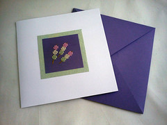 Greeting card with little cross stitch dango (mohu mohu) Tags: pink food white cute green yellow paper square japanese spring crossstitch cross stitch large cardboard card blank kawaii mauve dango offwhite dumplings greeting stitched hanami cardstock