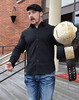 Irish grappler Sheamus shows off his new WWE World Heavyweight title on the steps of his hotel before heading to the WWE Smackdown show at The O2. Dublin, Ireland