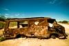 Let's Twist Again (Universal Stopping Point) Tags: abandoned graffiti garbage desert australia burnt outback van damaged wrecked chubbychecker thetwist lakehart