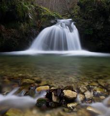 Boulders (Ahio) Tags: longexposure winter water pool waterfall boulder explore rivers verticalpanorama smcpentaxfa31mmf18allimited vertorama pentaxk5 ríoriensena