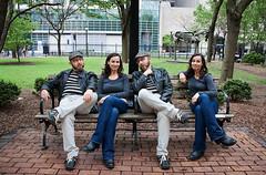 Four on a park bench... (~ cynthiak ~) Tags: friends chicago fun peace watertower joy adventure flickrmeet corin werehere fouronacouch
