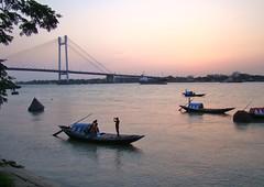 Boats (mala singh) Tags: sunset india water river boats kolkata ganges