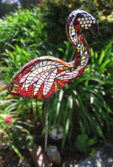 Flamingo for Evyn 2 (Kim Larson Art) Tags: california sculpture oakland mural san francisco artist mosaic gardenart redart flamingoart gardenmosaic