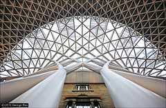King's Cross Station / Interior #4 (George Rex) Tags: uk greatbritain england white london glass station architecture unitedkingdom britain steel interior transport gb kingscross concourse arup londonboroughofcamden explored steellattice grxa23 johnmcaslanpartners photographygeorgerex georgerexphotography