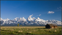 Mormons Row (whizvish) Tags: snow mountains field grass cabin montana meadow logcabin wyoming grandteton jacksonhole mormonsrow