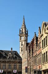 Ghent (MikePScott) Tags: camera sky clock window sign logo lens streetlight arch belgium streetlamp flag banner roofs lamppost ghent gand flanders belge builtenvironment architecturalfeatures nikon18200mmf3556 nikond300 featureslandmarks