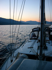 Early Morning Off Corsica (DJ Greer) Tags: ocean sea france water sailboat sunrise dawn boat mediterranean sailing corsica boating sail passage daybreak