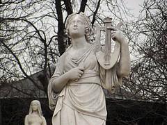Lady Musician Statue - Jardin du Luxembourg (dreamofdata) Tags: winter blackandwhite sculpture music woman paris france statue lady female garden musical instrument luxembourg jardinduluxembourg