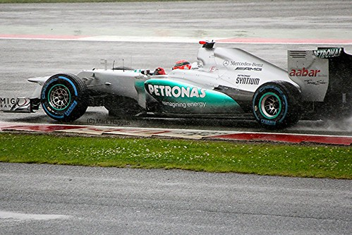 Michael Schumacher in his Mercedes AMG Petronas F1 Car at Silverstone