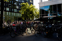 (Peter de Krom) Tags: light shadow sun amsterdam bike bicycle drink spot friday offices zuidas