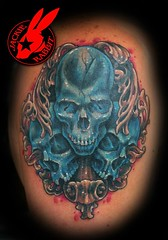 Blue Skull Tattoo by Jackie Rabbit (Jackie rabbit Tattoos) Tags: city color tattoo skulls skull star virginia cool colorful good awesome great roanoke va realistic jackierabbit