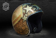 "Open face helmet ""Gold Stars n1"" (Unexpected Custom) Tags: original classic bike sport painting stars gold golden design chopper 60s open metallic helmet harley sparkle motorbike moto motorcycle 70s biker lighters custom flakes davidson rider unexpected airbrush metallicpowder ywnh"