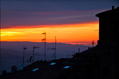 rooftops (heavenuphere) Tags: travel sunset italy reflection window italia rooftops volterra tuscany toscana antenna traveldestinations 55250mm