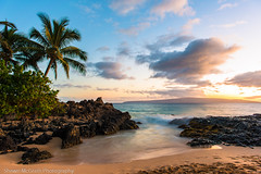 Makena Cove [Explored] (Shawn McGrath) Tags: sunset beach sand rocks cove peaceful maui palmtree d800 secretcove makenacove