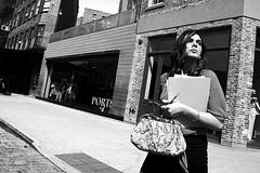 gansevoort (omoo) Tags: newyorkcity bw woman girl westvillage meatpackingdistrict ports streetscenes greenwichvillage gansevoort dressshop cobblestonestreets businesswoman bwphotograph gansevoortstreet dscn2676