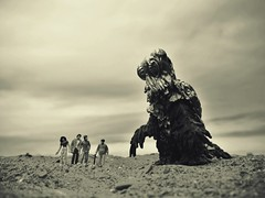Hedorah arrives on the beach (R D L) Tags: beach monster sepia godzilla kaiju hedorah