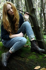 IMG_4370 (PoppyLunaCarter) Tags: wood uk blue portrait england woman cold english nature girl fashion female forest hair outside ginger model exterior natural feminine united navy makeup kingdom jeans teen portraiture teenager jumper british
