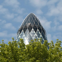 Spring vegetable (Arni J.M.) Tags: uk blue england sky building tree green london architecture spring top diamond normanfoster curve gherkin 30stmaryaxe cloulds springvegetable