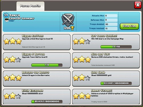 Clash of Clans Stats, Achievements: screenshots, UI