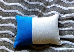"""Color Block Turquoise Blue and Cream Pillow 12"""" x16"""" Modern Home Decor Lumbar Pillow Cover (Snazzy Living Home Decor) Tags: couplesgift pillows gifts dormdecor applique alphabet pillow letter cushions"""
