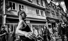 Crystal Ball (Hugh Rawson) Tags: street city uk cambridge urban blackandwhite bw woman man reflection glass monochrome shop shopping mono women phone streetphotography streetphotograph