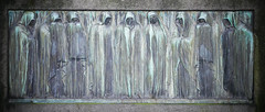 Nine mourners relief sculpture (Monceau) Tags: sculpture panel verdigris relief sorrow hooded cimetiredumontparnasse mourners