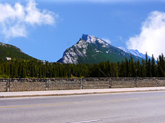 Mount Rundle from Banff Avenue Bridge (Alan FEO2) Tags: road bridge trees sky mountain canada clouds landscape outdoors horizon ab panasonic alberta g1 banff dmc mountrundle 2oef