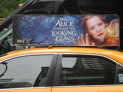 Alice Through the Looking Glass Taxi Fin Billboard  9138 (Brechtbug) Tags: street new york city nyc bus film glass movie tim looking near alice taxi broadway lewis disney double billboard johnny billboards carroll through mad fin depp avenue wonderland 7th 42nd hatter burtons decker in 2016 05182016
