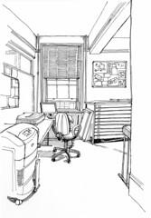 Hot desk from the door