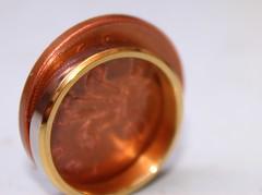 Macro Mondays  Smaller than a Coin (AnnaNat) Tags: white macro silver gold coin ring weddingring moneta 2pence macromondays smallerthanacoin