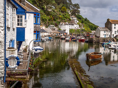 Polperro Harbour (Johnners61) Tags: uk sea summer england sun reflection water yellow pen reflections boats four coast harbor boat fishing cornwall village harbour britain cottage sunny olympus quay micro rowing quaint olympuspen picturesque polperro fishingvillage quayside thirds cottages rowingboat m43 mft microfourthirds epm2