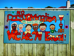 No Discrimination! (Steve Taylor (Photography)) Tags: wood newzealand sky people woman streetart man men art sunshine lady fence painting graffiti wooden spring women mural sunny nelson nz southisland behappy notsad nodiscrimination weareallequal lanacalder
