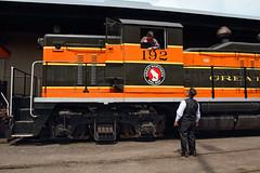Pre-trip conversation (Moffat Road) Tags: railroad minnesota train crew locomotive conversation mn gn duluth engineer railroaders conductor 192 emd nw5 greatnorthern northshorescenicrailroad lakesuperiorrailroadmuseum lesterriverturn duluthzephyr