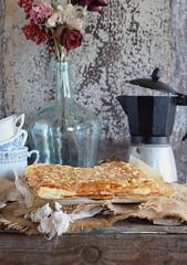 Coca de Llavaneras Sant Joan-puff pastry with cream, covered with marzipan and pine nuts (Dolores (Mi Gran Diversion)) Tags: food recipe cream puff catalonia sanjuan pastry marzipan pinenuts verbena cocasantjoan migrandiversion