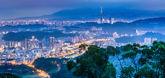 Ever Bright City  (Sharleen Chao) Tags: city longexposure summer urban panorama mountain night canon landscape mood cityscape nightshot hill taiwan nopeople 101 taipei bluehour taipei101    101  capitalcity 1635mm locallandmark  canoneos5dmarkiii  45