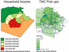 TNC Pick ups vs. household income in San Antonio (NOWCastSA) Tags: san antonio income uber tnc lyft